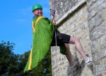 Father Martyn Davies abseiling