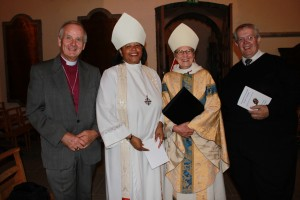 Archbishop Barry Morgan, Bishop Gayle, Bishop Geralyn and the Bishop of St Asaph, Gregory Cameron