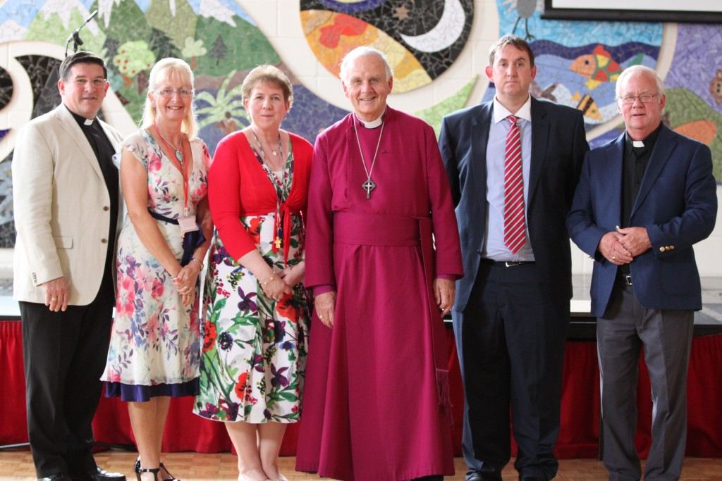 Revd Kevin Lake, Susan Williams (VC of Governors), Clare Lewis (head), Archbishop, Aled Williams (dep head), Revd John Oeppen