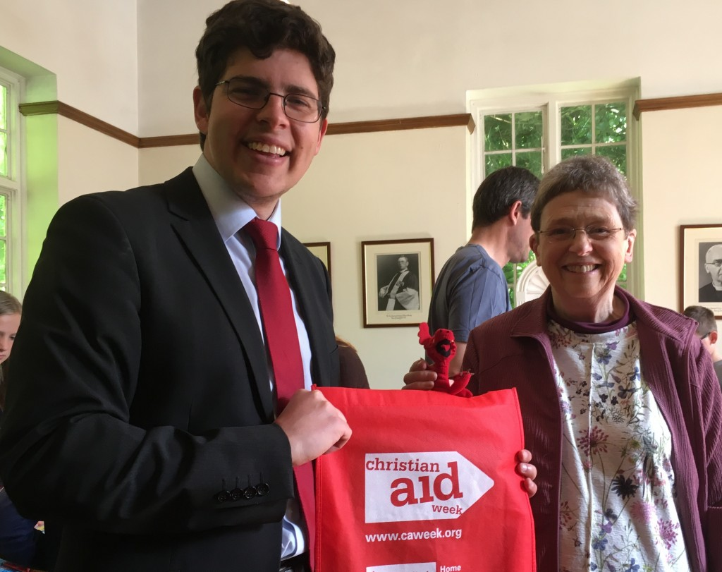 Llandaff Cathedral campaigner, Sue Smith, was presented with a Diamond Award  by Huw Thomas, Head of Christian Aid Wales on Sunday. Last year Llandaff Cathedral became the first church in Wales to raise more than  £10,000 for Christian Aid