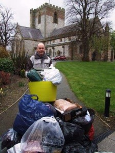 Aidan Coleman with some of the donations for Calais web