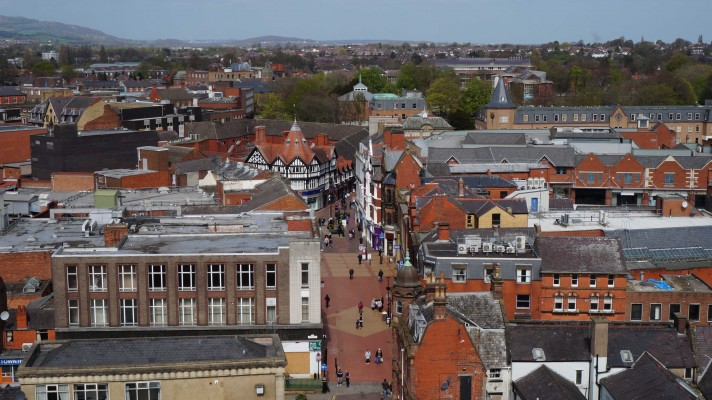 Wrexham town centre from St Giles cropped web