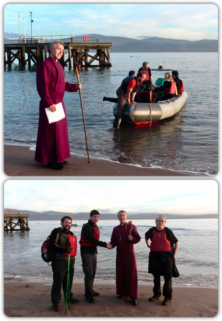 Aberdovey Beach yesterday (8.12.16) where Bishop Andy welcomed the Christian Aid walkers on their 'Escape to Egypt' journey to the Diocese of Bangor