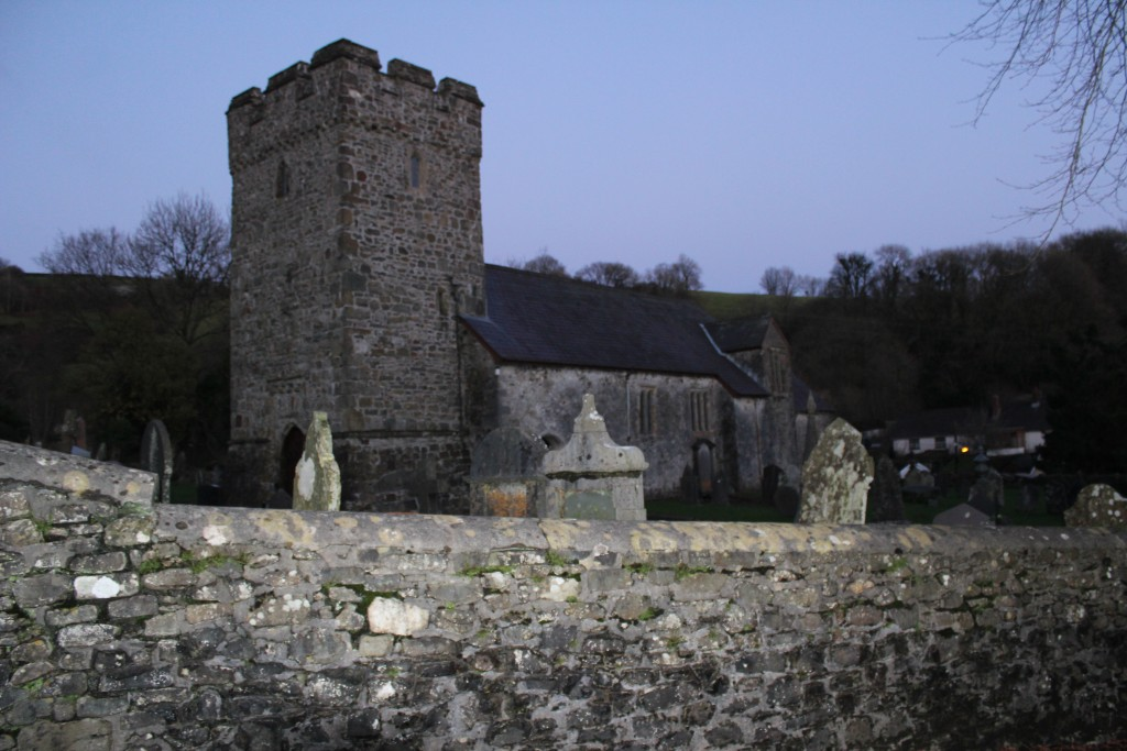 ...and St Egwad's at Llanfynydd as darkness falls.