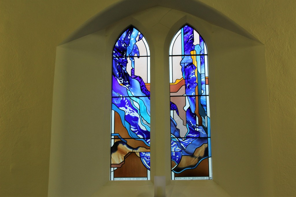 The striking stained glass is inspired by Psalm 42