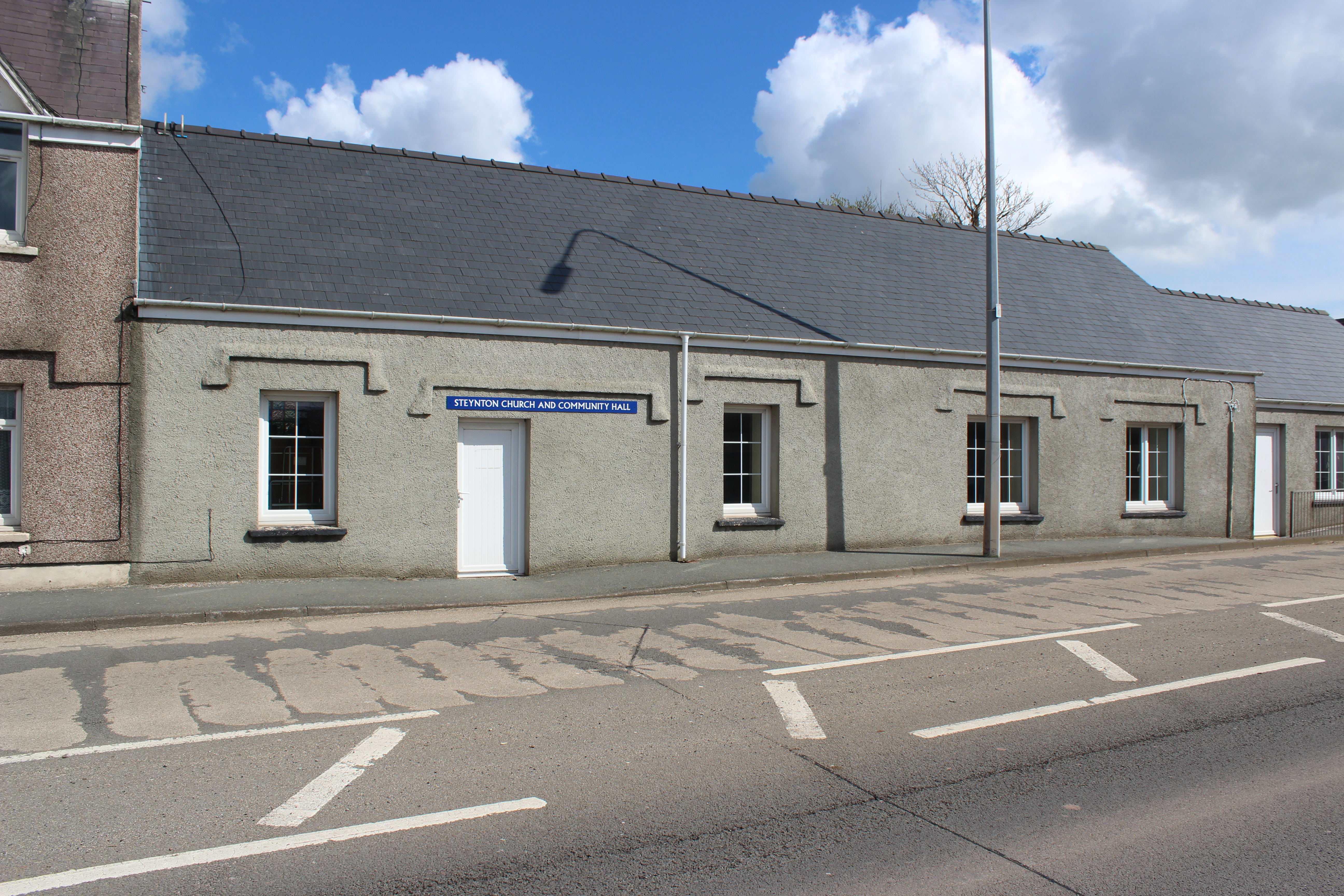 The church hall is unassuming from the outside...