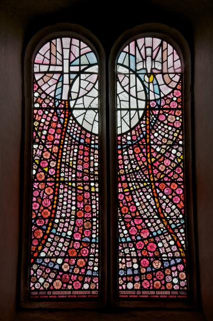 ...and a striking window by one-time local resident, John Petts.