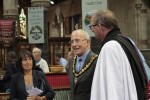 Chairman of Conwy County Borough Council, Cllr Brian Cossey and his wife Nerys with Rev Noel Carter